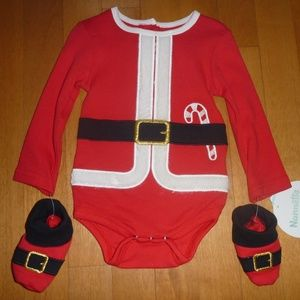 Baby Santa Claus Bodysuit Creeper & Booties 3/6 Mo